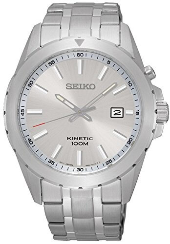 Seiko SGEG693P1 Kinetic Analogue Men's Watch with Grey Dial and Grey Steel Strap