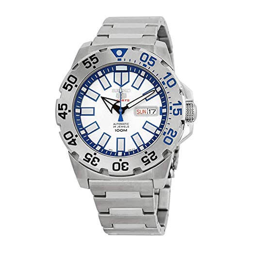 Seiko srp481k 1-5 Sports Men's Automatic Watch Analogue Watch-White Face-Grey Steel Bracelet