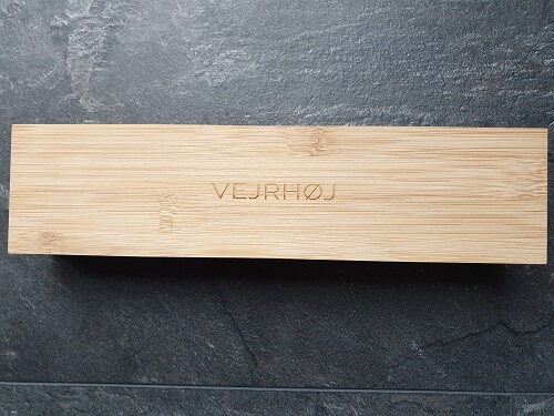 Wooden packaging of the VEJRHØJ watches review