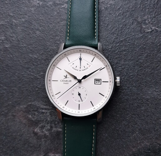 Charlie Paris Watch With Green Leather Strap