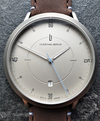 Lilienthal Berlin Watch review close up dial