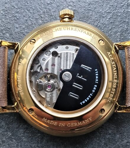 DuFa Watches exhibition caseback view