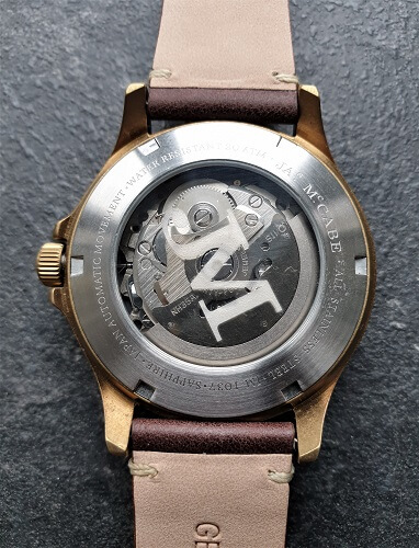 James McCabe Watches exhibition caseback